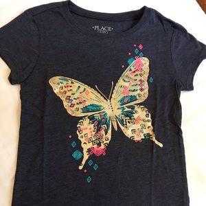 Girls Short Sleeve Butterfly Shirt.